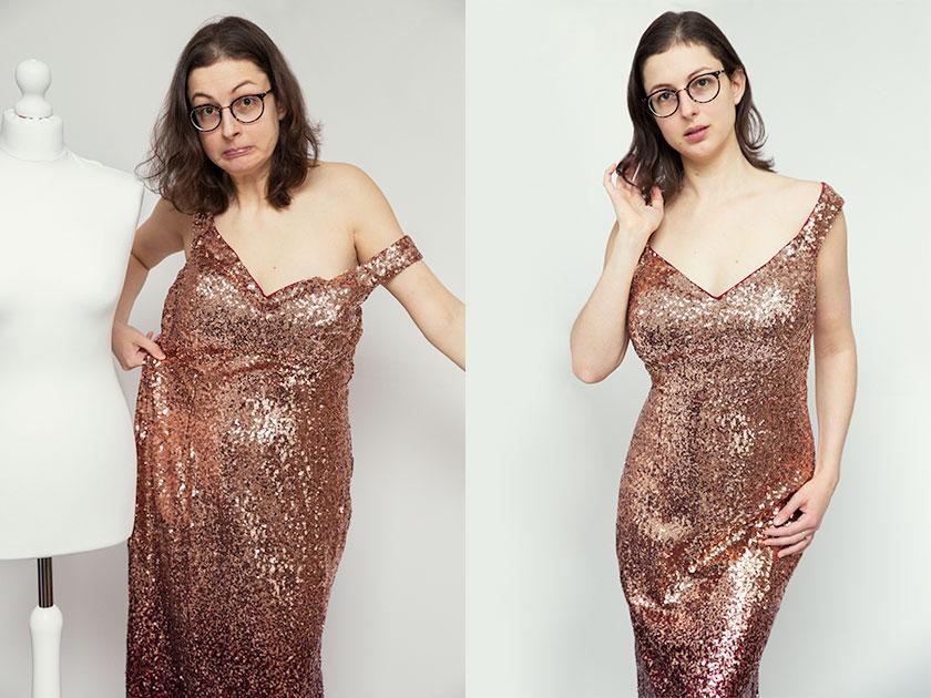 Exemple d'avant/après avec une pièce de la garde robe qui d'abord trop grande, puis ajustée sur la modèle.